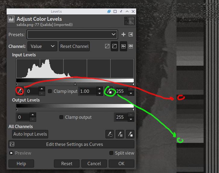 Contrast correction using GIMP