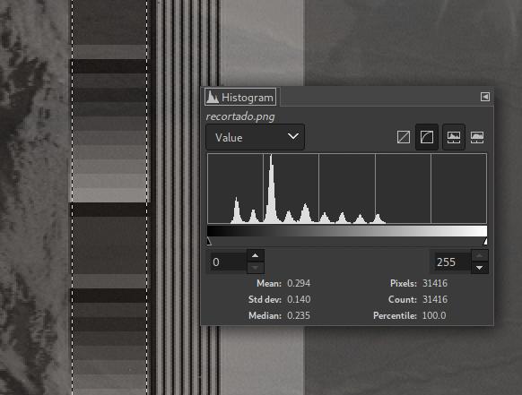 Telemetry band histogram on GIMP